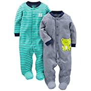 Simple Joys by Carter's Boys' 2-Pack Cotton Footed Sleep and Play, Navy/Turquoise Stripe, 3-6 Months