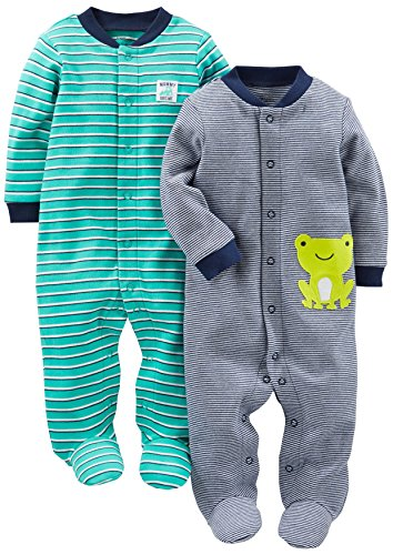 Simple Joys by Carter's Boys' 2-Pack Cotton Footed Sleep and Play, Navy/Turquoise Stripe, 0-3 Months
