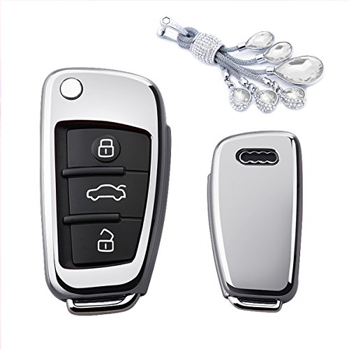 MODIPIM Keyless Entry Remote Cover Soft TPU Key Fob Case With Diamond Tassel Keychain For AUDI A3 Q3 Q7 A1 S3 A6L 3 Buttons Flip Key Color Silver