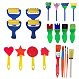 FEOOWV 21PCS Children's Kids Creative Sponge Paint Brushes Set Art Craft Painting Brushes Set for Early Learning (A)