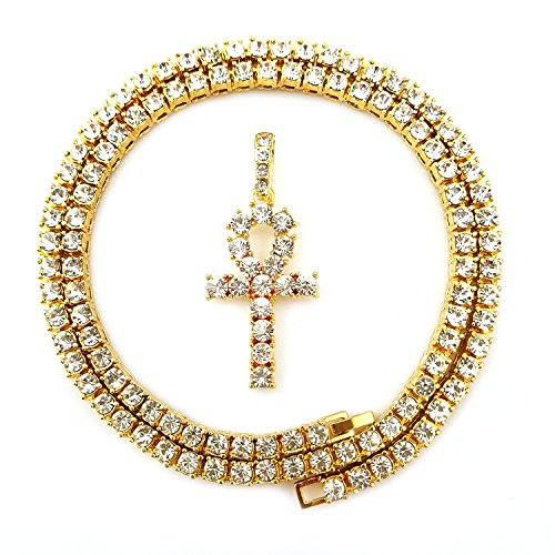 HH Bling Empire Mens Iced Out Hip Hop Gold Artificial Diamond Ankh Cross cz Tennis Chain 22 Inch (Tennis Chain & Ankh B)