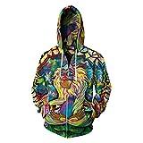 Men's Long Sleeve 3D Digital Print Colorful Cartoon Lover's Design Fleece Zipper Hoodies(XXXL,blue)