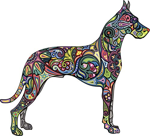 Beautiful Artistic Colorful Retro Vintage Design Inside Animal Outline - Great Dane Dog Vinyl Sticker (4