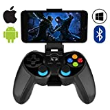 Mobile Game Controller,ZUOXI Wireless 4.0 Bluetooth Gamepad with Joystick, Multimedia Game Controller Compatible with iOS Android Mobile Phone PC Android TV Box Without Rooting (Black)