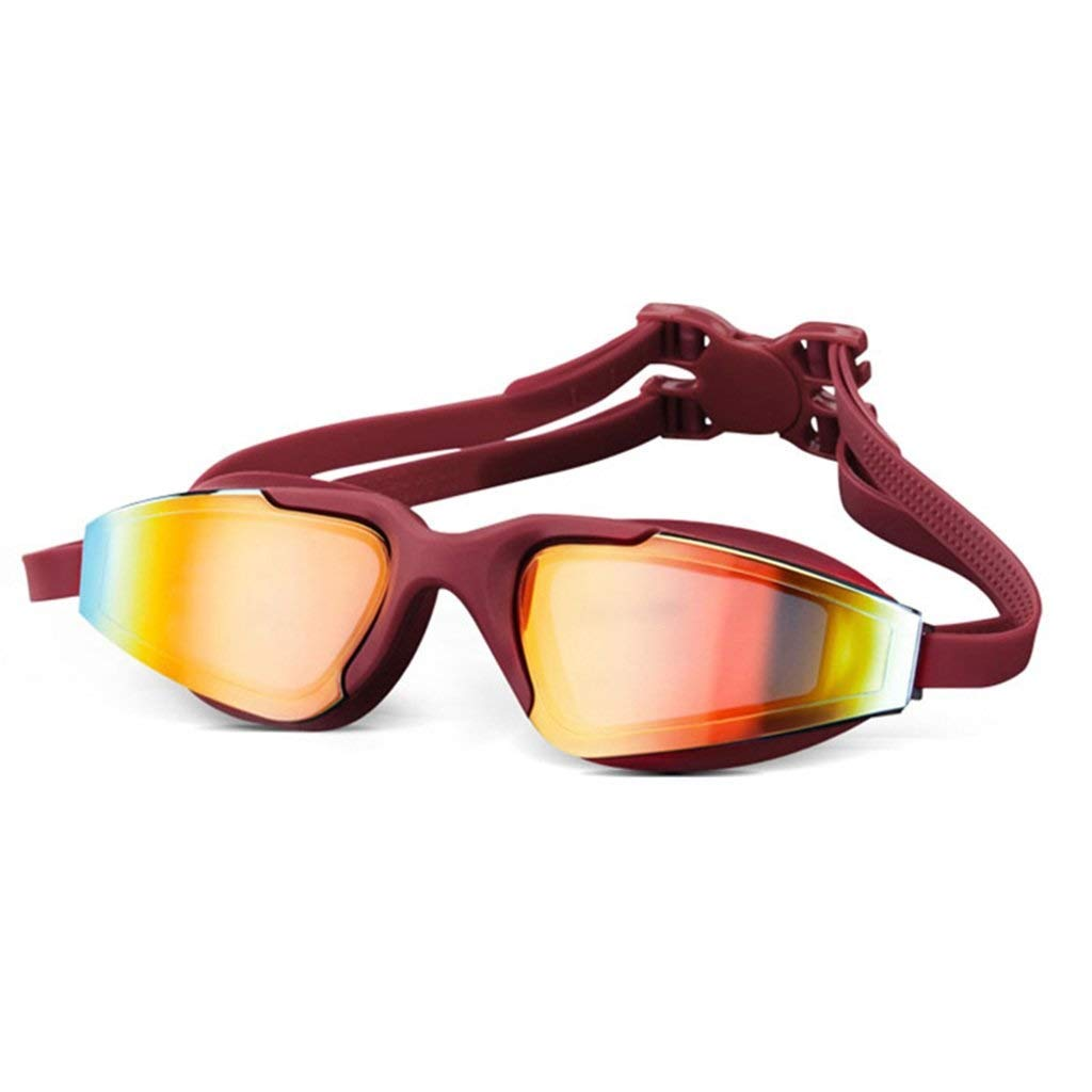 ゴーグルアダルトプロフェッショナルトレーニングユニセックススイミングゴーグルアンチUVアンチフォグ防水HDメッキウォータースポーツ用メガネ  レッド B07S52763L