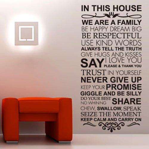 Newsee Decals grande casa reglas amor de familia calcomanías de pared pegatinas vinilo para la pared Frases que inspiran y...