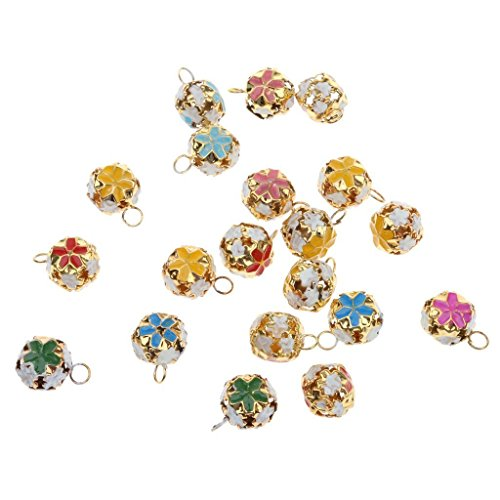 Yansanido 14mm 50pcs Mixed Color Metal Flower Jingle Bell Loose Beads Charms Jewelry Marking for DIY Bracelet Anklets Necklace Knitting/ Jewelry Making Accessories(flower bell 14mm 50pcs)