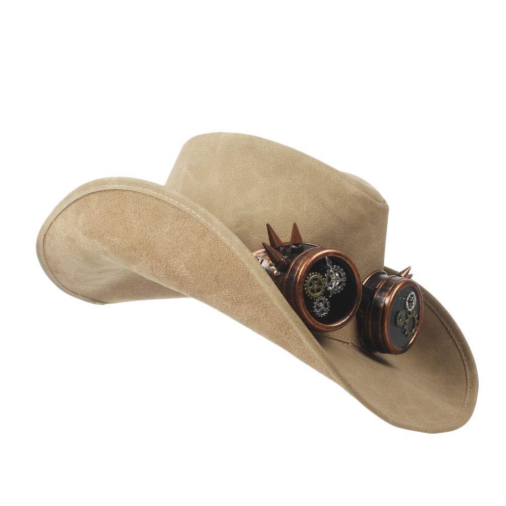 HYF Womens Western Cowboy Hat Faux Leather Bowler Metal Decoration Wide Brim Men Women Black Cap