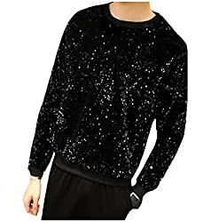 Men Long-Sleeve Round Neck Sequin Sweatshirts