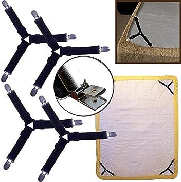Gulin Verstellbare Bettlakenspanner,3-Wege,Elastische Betttuchspanner Matratze,4 St/ück f/ür Bettlaken Lakenspanner mit Metallclips