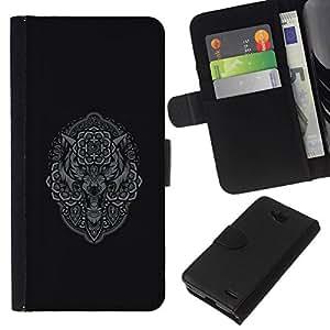 All Phone Most Case / Oferta Especial Cáscara Funda de cuero Monedero Cubierta de proteccion Caso / Wallet Case for LG OPTIMUS L90 // Grey Owl Wolf Native Pattern Indian