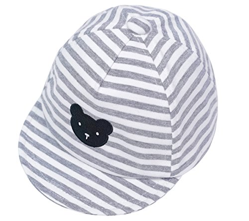 idery Baseball Cap Newborn Stripe Cotton Hat (3-6 Months, Gray) ¡­ ()