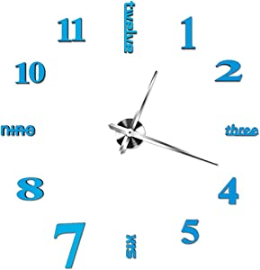 INSHERE 3D Wall Clock, Large Wall Clocks for Living Room Decor, Silent, Modern Wall Clock for Kitchen, Office, School, Home, Bedroom, Living Room Decor (Blue)