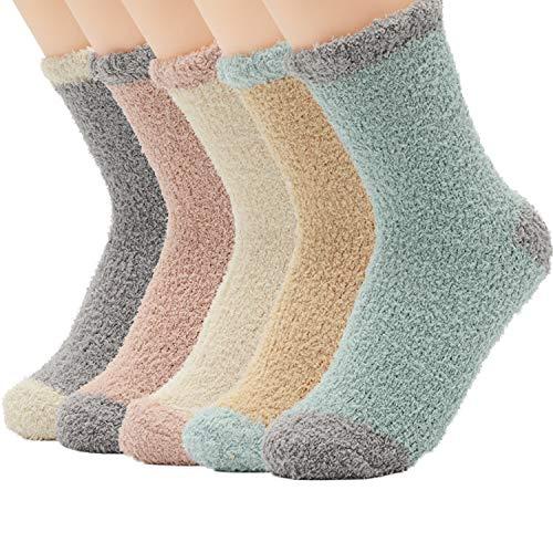 Zando Women Cozy Fluffy Plush Sock Soft Warm Slipper Socks Winter Home Sleeping Crew Sock Microfiber Fuzzy Thick Sock for Women 5 Pairs Patchwork Pink One Size