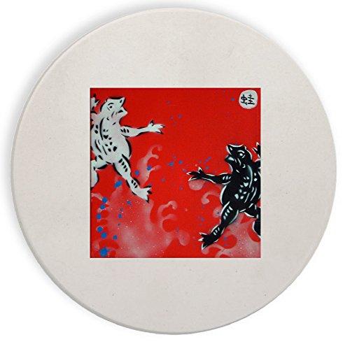 Black and White Frogs Mural Yuya Negishi YUYART - Ceramic Stone Coaster Coasters Set of Four (Mural Frog)
