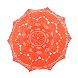 Topwedding Handmade Embroidered Cotton Wedding Umbrella Bridal Parasol, Orange