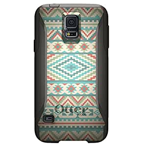 CUSTOM Black OtterBox Commuter Series Case for Samsung Galaxy S5 - Blue Orange White Tribal Print