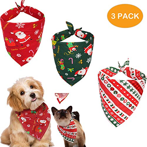 iFer 3pcs Christmas Dog Bandanas Dog Kerchief Triangle Dog Bibs Scarf Accessories Cat for Small to Large Dogs Cats Pets