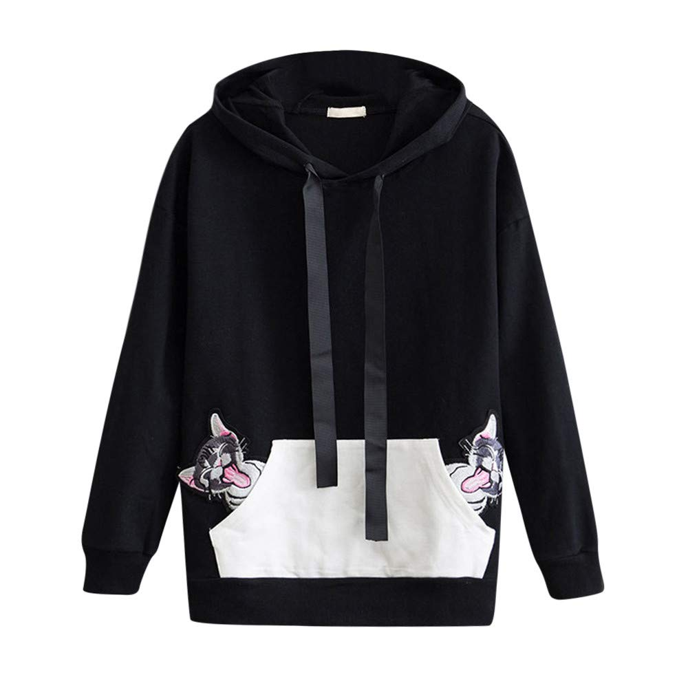 Clearance Women Autumn Winter Cat Embroidery Hoodie Pullover Hooded Sweatshirt