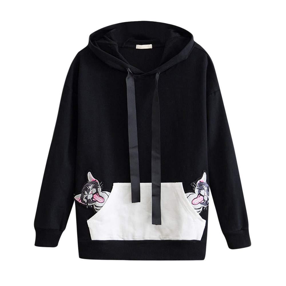 Ankola Hoodie Women Long Sleeve Sweatshirt Cute Cat Applique Ear Hooded Pullover Sports Tops (L, Black)