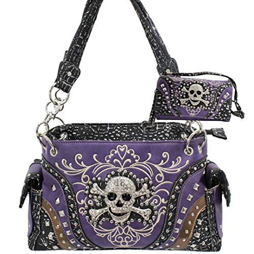 Rhinestone Skull Western Concealed Carry Handbag and wallet set (Purple)