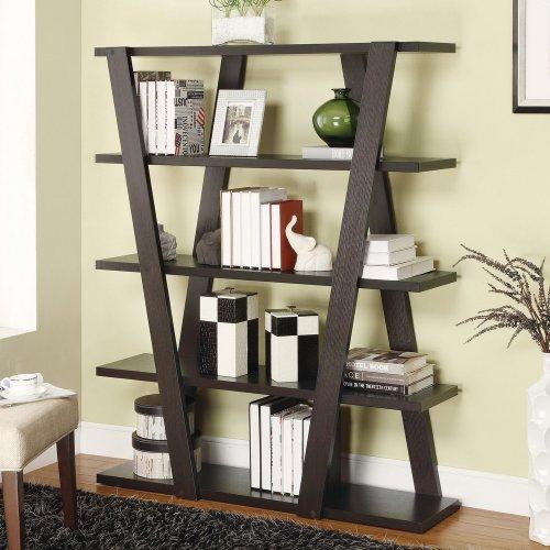 Criss cross design ladder style Espresso finish wood modern styling slim line bookcase shelf unit