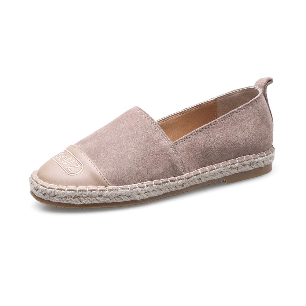 T-JULY Women's Loafer Cow Suede Espadrilles Insole Flats Shoes Hemp 2018 Slipony Pretty Apricot