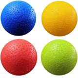 AppleRound 8.5 Inch Dodgeball Playground Balls, Pack of 4 Balls with 1 Pump, Official Size for Dodge Ball, Handball, Camps and Schools (1-Pack, 4 Balls+1 Pump)