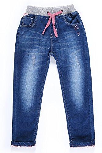 Little-Guest Little Girls' Jeans Kids Clothes Drawstring Waistband Denim Pants G116 (4 Years, Light (Girls Fleece Lined Jeans)