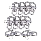 Mxfans 10Pieces 87x42mm 304 Stainless Steel Durable Swivel Snap Shackle Medium Size