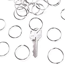 """1"""" (25mm) Nickel Plated Silver Steel Round Edged Split Circular Keychain Ring Clips for Car Home Keys Organization, Arts & Crafts, Lanyards (100 Pack)"""
