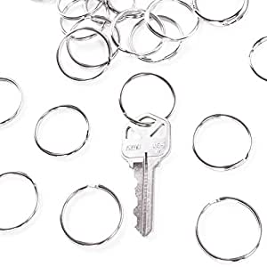 "1"" (25mm) Nickel Plated Silver Steel Round Edged Split Circular Keychain Ring Clips for Car Home Keys Organization, Arts & Crafts, Lanyards (100 Pack)"