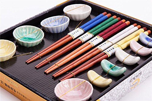 15 Pcs Set Of 5 Pairs Natural Wood Chopsticks, 5 Ceramic holders and 5 Saucers In Various Colors, Gift Box ()