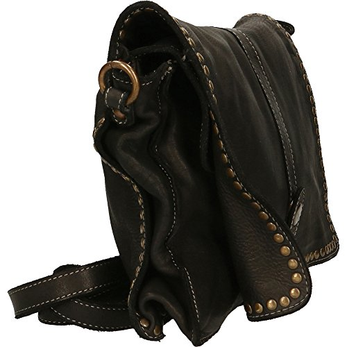 Mujer pequeño bolso de embrague con correa de hombro Chicca Borse Vintage en Piel Genuina Made in Italy 31x22x7 Cm Negro
