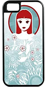 iPhone 5 5S Cases Customized Gifts Cover Artistic Oriental woman with red hair and red lips/light blue floral background Case for iPhone 5 5S