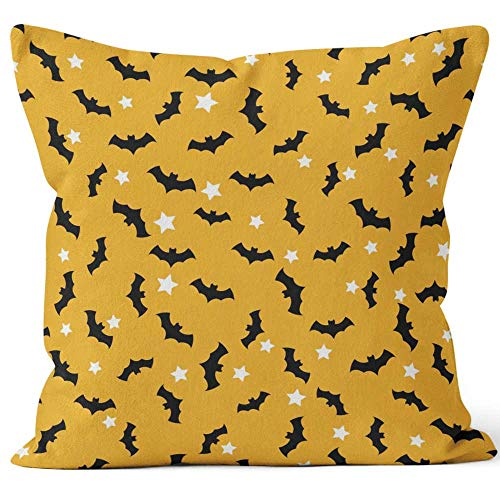 Seamless pattern with bats flying in the orange sky and white stars Halloween Burlap Pillow Home Decor Throw Pillow Cover Cotton Linen Cushion,HD Printing for Couch Sofa Bedroom Livingroom Kitchen Ca ()