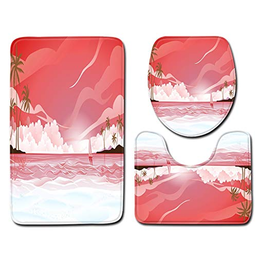 Toilet mats Rug Set Fiaya 3Pcs Ocean World Beach Sun Rose Haiwaii Multicolor Polyester Bathroom Set Rug Contour Mat+Toilet Lid Cover +Plan Solid Color Bath Mats (3PCS, Hot Pink Sun Rose C01)