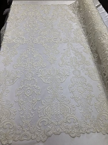Damask Sequins Embroidery Flower Pattern Lace Fabric - Off-White - Floral Mesh Decor Bridal Sequined Fabrics By The Yard ()