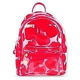PVC School Backpack, UHBGT Clear Transparent PVC Multi-pockets Fashion Cute Plastic Shoulder Travel Bag for Girls Women School, College, Outdoor, 11''x 9''x 4.7'', Red