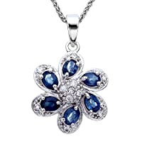 Vir Jewels Sterling Silver Sapphire Pendant (1 CT) With 18 Inch Chain