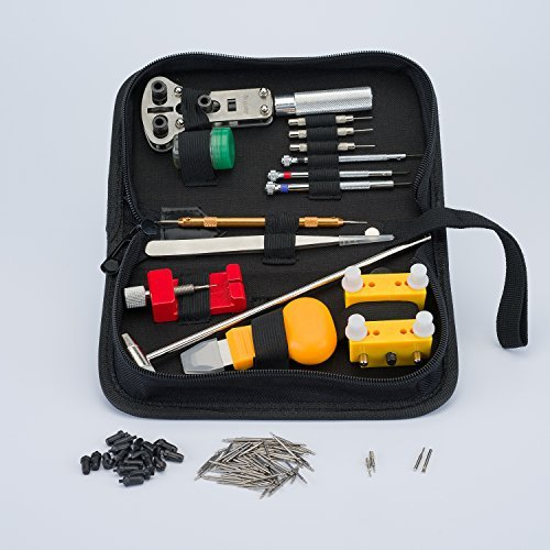 Clockwork Hen Professional Watch Repair Tool Kit. Watchmaker multi toolset best for battery replacement, changing and resizing watch straps. INSTRUCTIONS, zipped case, spring pins and microfiber cloth (Best Lightweight Multi Tool)