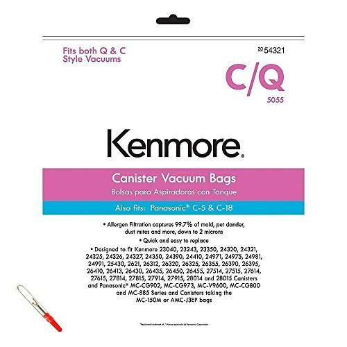 Kenmore Style C & Style Q Allergen Filtration Canister Vacuum Bags (6 Bags) with Bonus Seam Ripper ()
