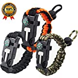 Rescue Survival Knife - Premium Survival Bracelet-Set of 3-Outdoor Emergency Paracord Bracelet 5 in 1 With Compass,Flint Fire Starter,Emergency Scraper/Knife,Whistle,Rescue Rope-Perfect for Camping,Hiking,Trekking,Travel