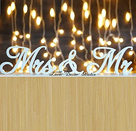 Amazon.com: Wedding Sign Mr & Mrs, Wooden PVC letters table decor ...