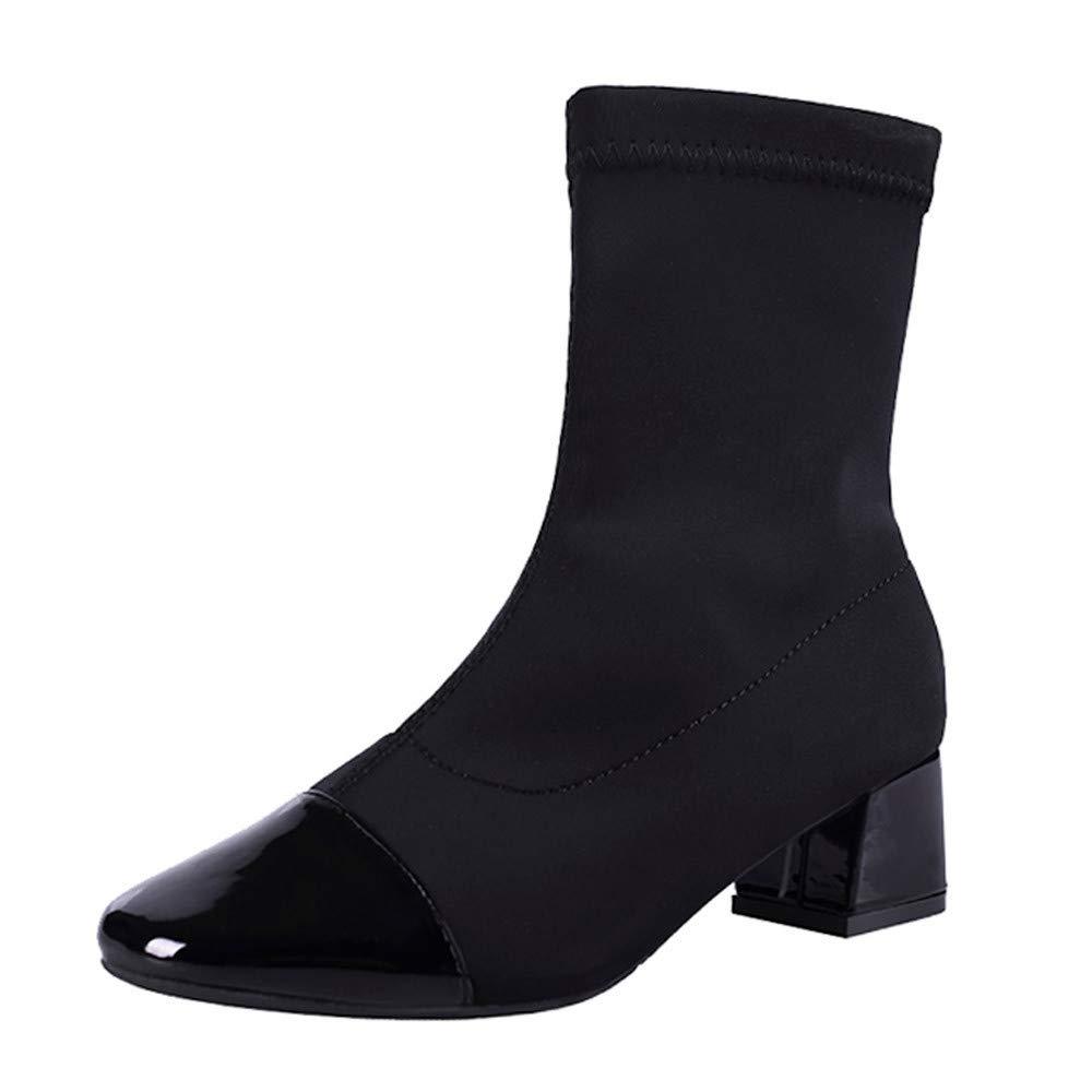 BaZhaHei Damen Schuhe Mode Damen Keile Slip-On Schuhe Martain Stiefel Stretch Stoff Stiefel Runde Zehe Schuhe Winter Warm Heels Boot Schuhe Kurze Stiefel Boots