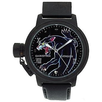 CHRISTIAN AUDIGIER ETE-105 Black-Blue Panther Herrenarmbanduhr mit schwarzem Lederarmband
