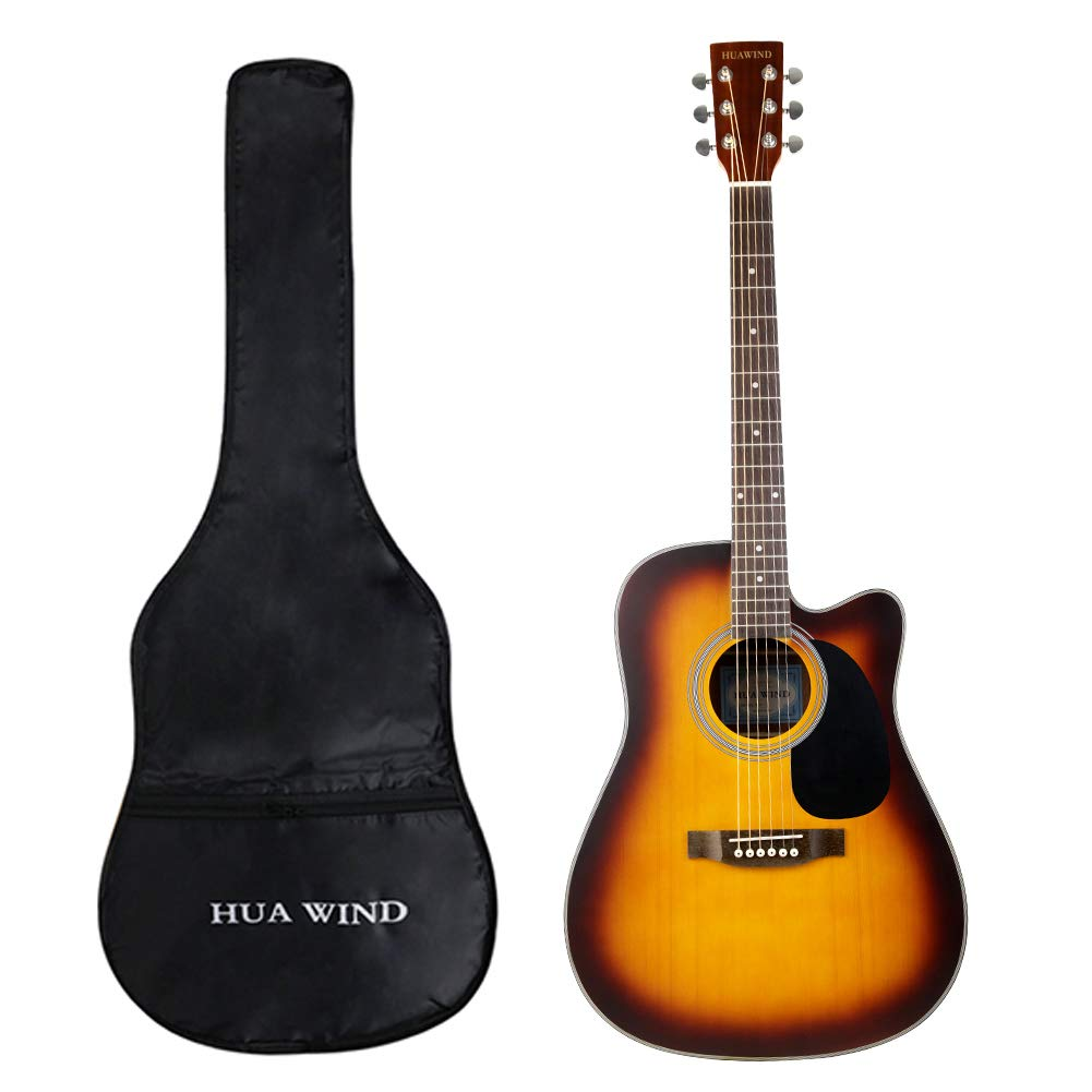HUAWIND Acoustic Guitar Package 41inch Full Size 4/4 Spruce Top Guitar with Gig Bag, Tuner, Capo, Steel String, Cleaning Cloth, Picks, Guitar Hanger-Natural Spruce (41inch white Cutaway) Huafeng Jiangsu Cultural Industry Co. Ltd. HW41-AGC