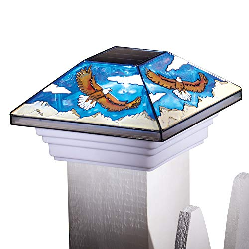 (Collections Etc Solar Stained-Glass Soaring Eagles Decorative Post Cap - Entryway Outdoor Lighting)