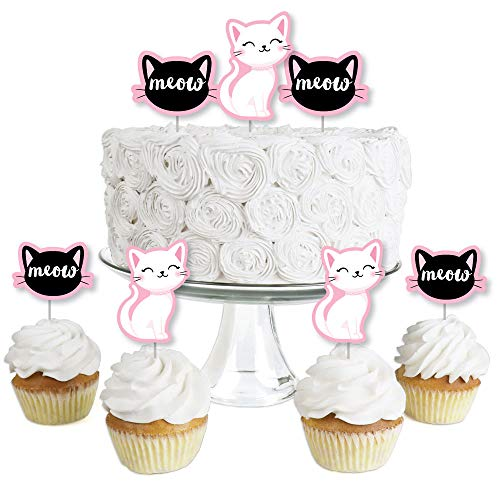 (Purr-fect Kitty Cat - Dessert Cupcake Toppers - Kitten Meow Baby Shower or Birthday Party Clear Treat Picks - Set of 24)