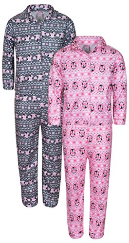 'Sweet & Sassy Girls Flannel Coat-Style Pajamas Set, Penguins, Size 4 (2 (Penguin Flannel Pajamas)